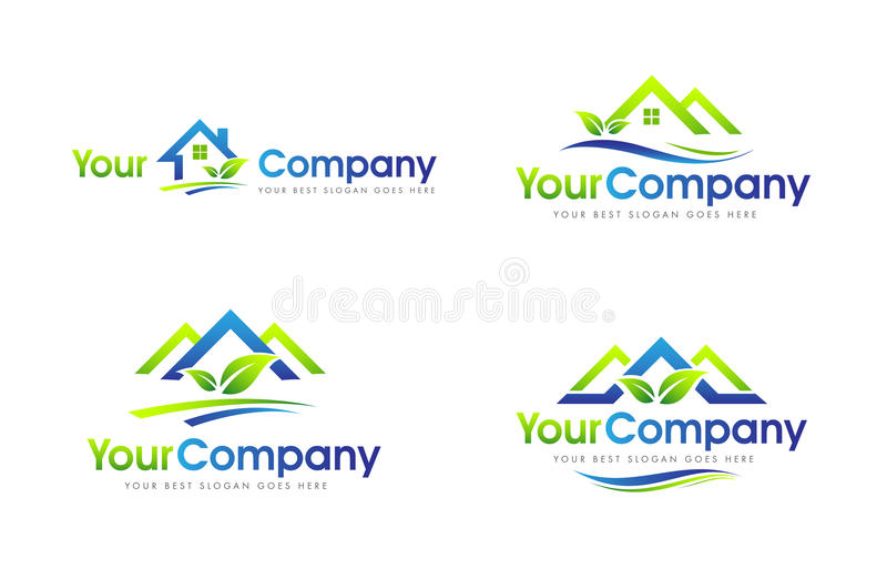 Real Estate abriga o logotipo ilustração stock