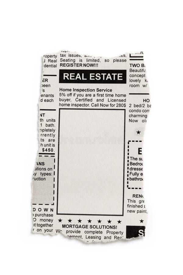 Real Estate-Advertentie stock afbeelding