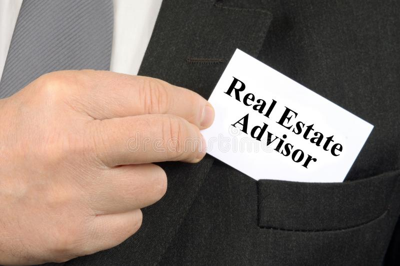 Real estate advisor. Business card coming out of a jacket pocket vector illustration