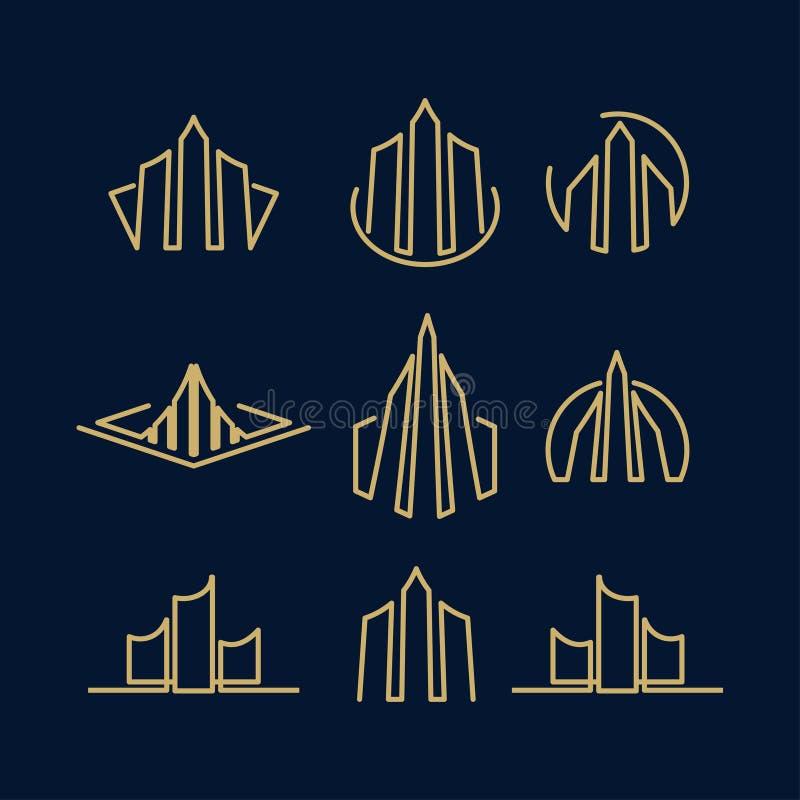 Real Estate affär Logo Template, byggnad, egenskapsutveckling och konstruktion Logo Vector Design Eps 10 med lyxig guld vektor illustrationer