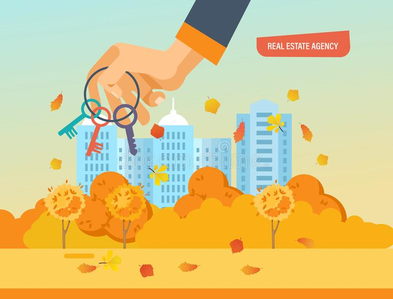 Real estate agency. Business property investment. Buying, selling houses. Real estate agency. Autumn city street in background of houses. Working, business stock illustration