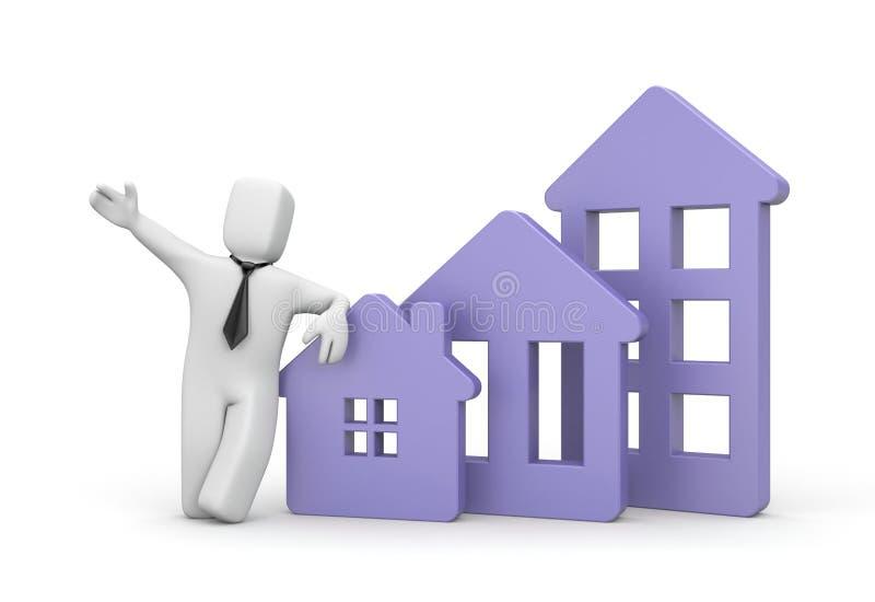 Real estate agency - business illustration. 3d illustration vector illustration