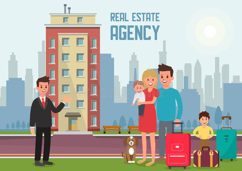 Real Estate Agency. Vector Flat Illustration. Real Estate Agency Concept. Family Buys Apartment. Housewarming in New Home. Estate Agent and New Property. Family stock illustration