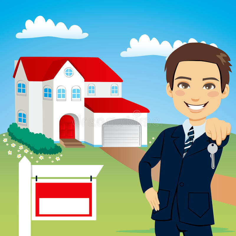 Real Estate Agent. Holding the key of a new house vector illustration