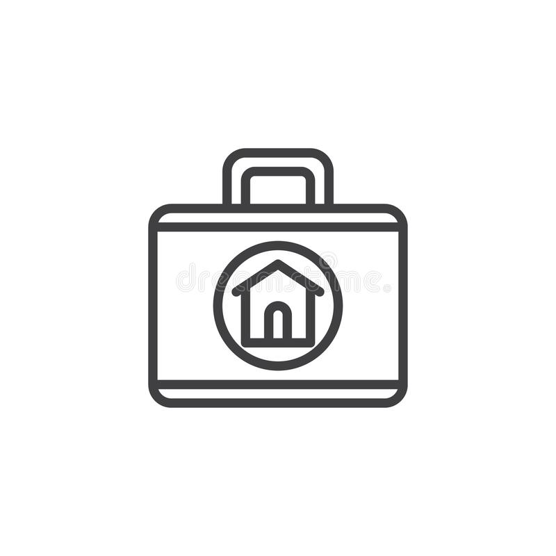 Real estate agent briefcase icon vector stock illustration
