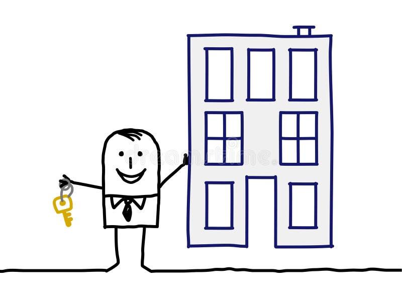 Real estate agent & building vector illustration