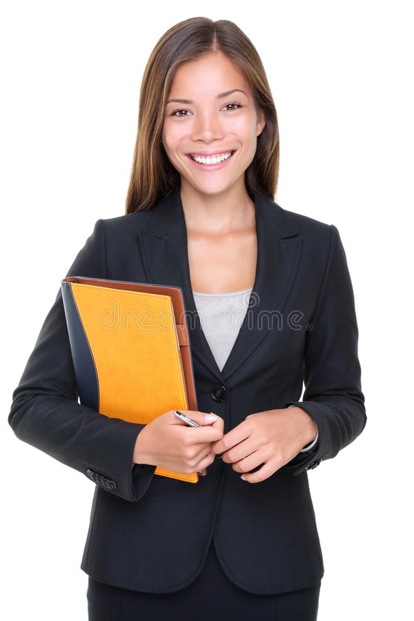 Real estate agent business woman portrait. Beautiful asian real estate agent businesswoman waist up isolated on white background stock photos