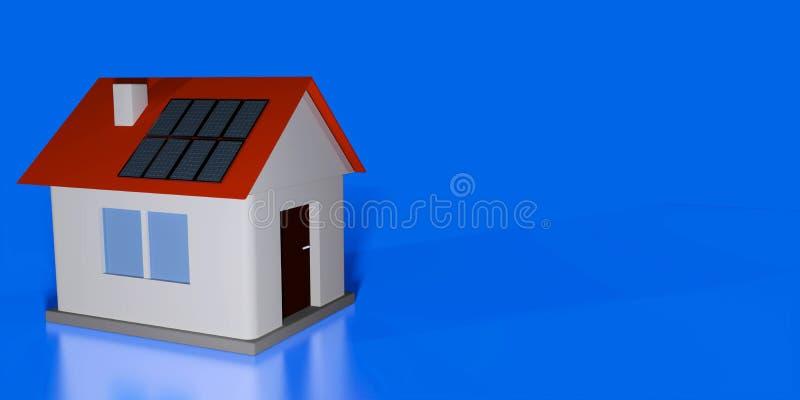 Real estate agent header or flyer mock up. Smal house model with solar panels on roof against blue background. 3d render illustration stock illustration