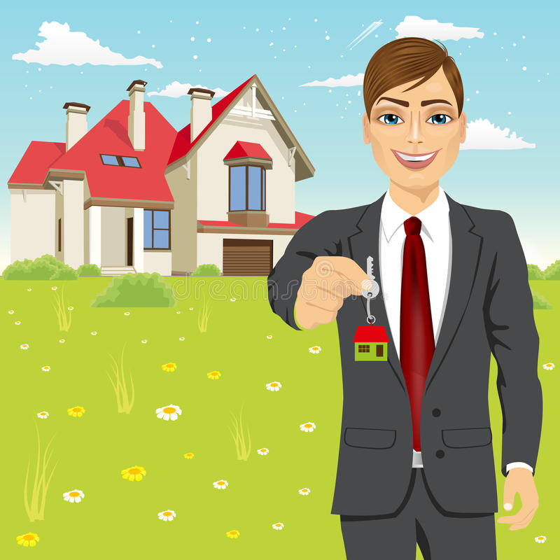 Real estate agent holding the key of a new house stock illustration