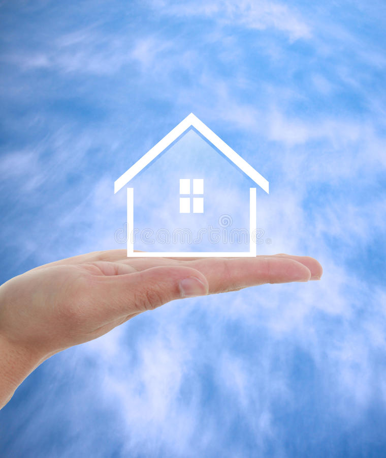 Real estate agent. Offer house. Property insurance, mortgage and real estate services concept stock images