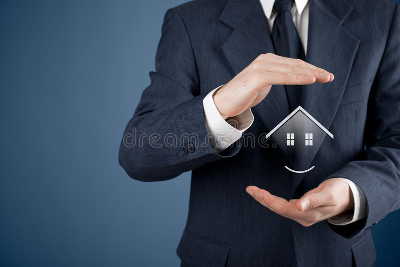 Property insurance. Security and real estate agent concept. Protecting gesture of man and symbol of house royalty free stock photos