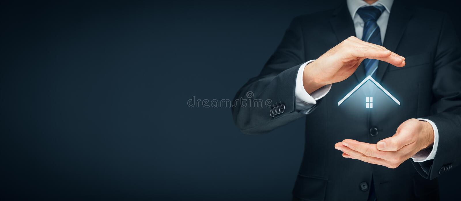 Real estate agent. Offer house. Property insurance and security concept royalty free stock photos