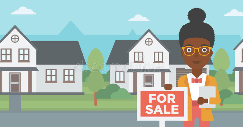Real estate agent offering house. An african-american real estate agent offering the house. Female broker with placard for sale and documents in hands standing royalty free illustration