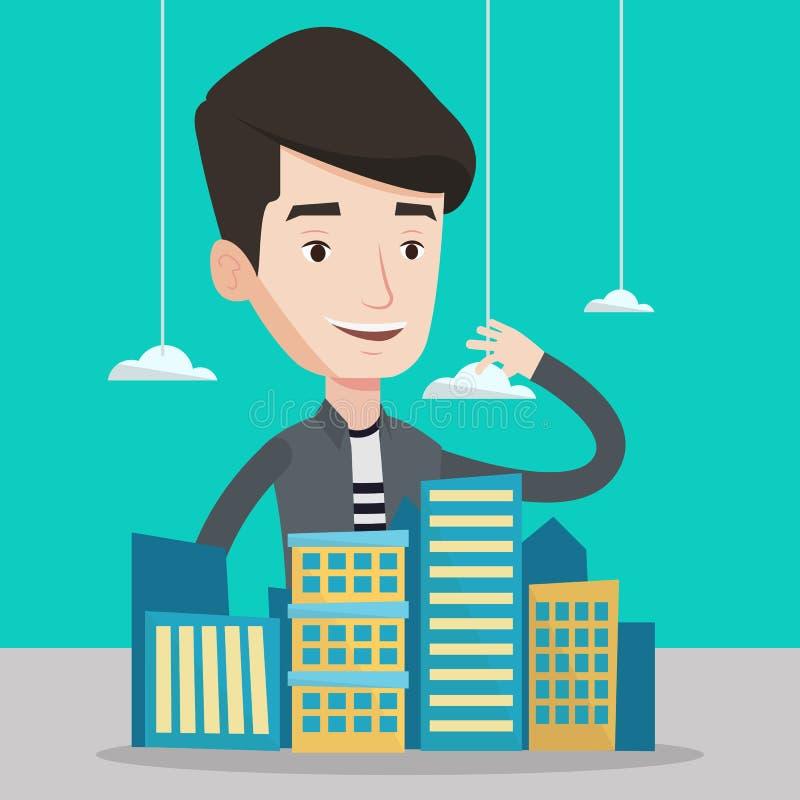 Real estate agent presenting city model. vector illustration