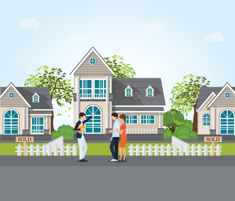 Real estate agent showing new house to couple. vector illustration
