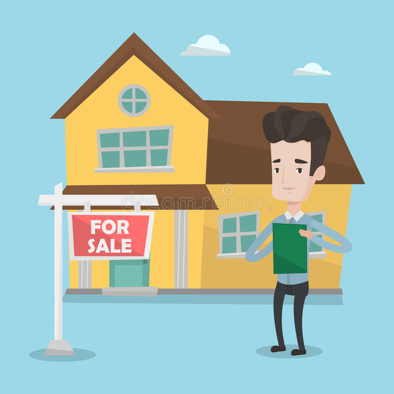 Real estate agent signing contract. Happy real estate agent signing home purchase contract. Real estate agent standing in front of the house with placard for vector illustration