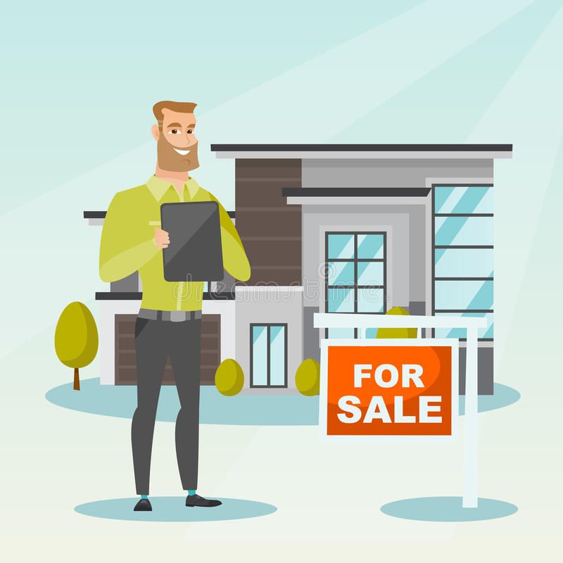 Real estate agent signing home purchase contract. Happy real estate agent signing home purchase contract in front of house for sale. Real estate agent standing vector illustration