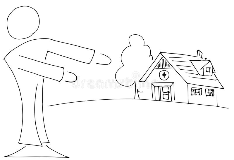 Download Stylized Real Estate Agent Showing A Home Stock Illustration - Image: 37207826