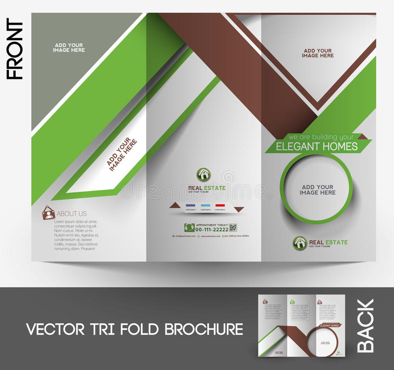 Real Estate Agent Tri-fold Brochure royalty free illustration