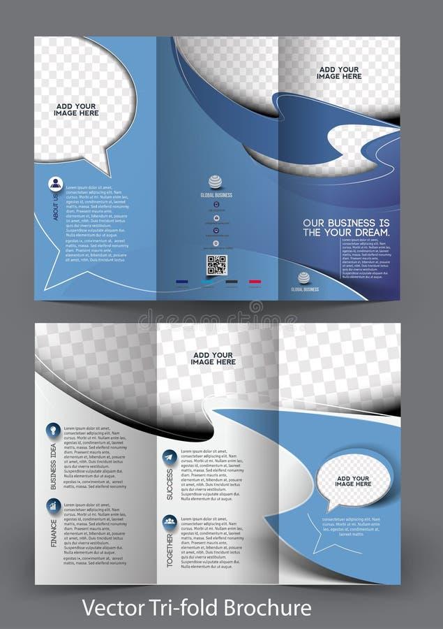 Real Estate Agent Tri-Fold Brochure vector illustration