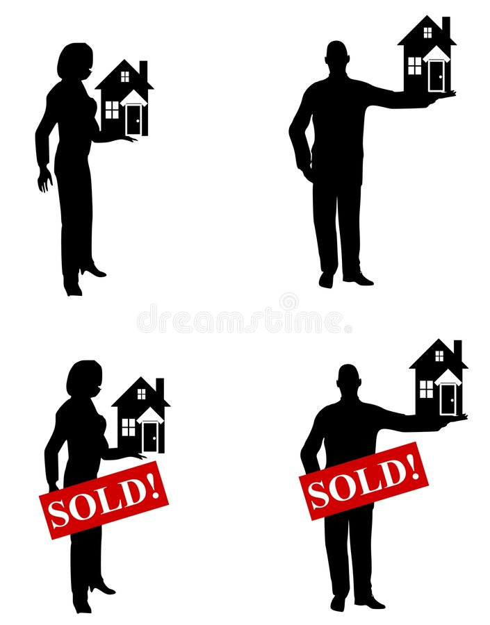 Real Estate Agents Holding Houses stock illustration