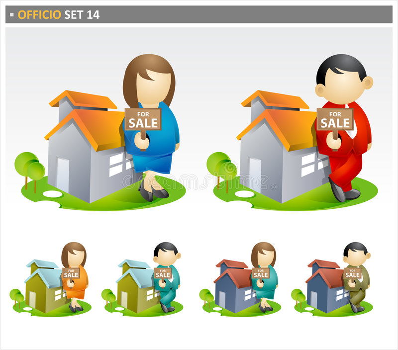 Real estate agents with house stock illustration