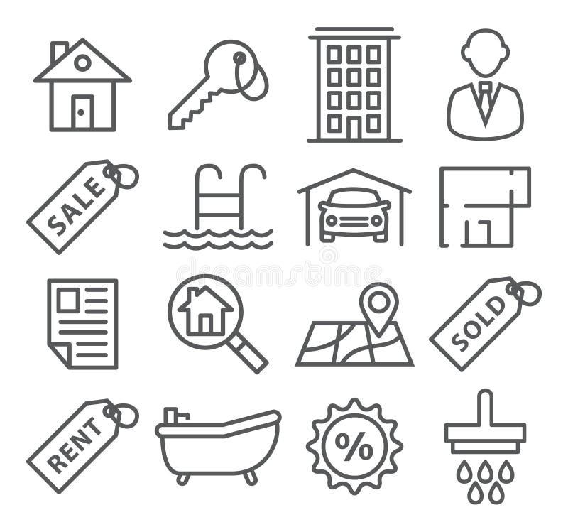 Real Estate alinha ícones ilustração do vetor