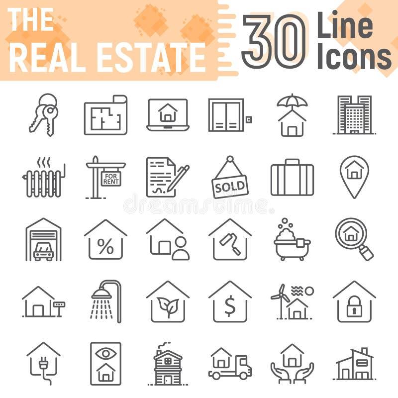 Real Estate alinha o grupo do ícone, coleção home dos símbolos ilustração royalty free