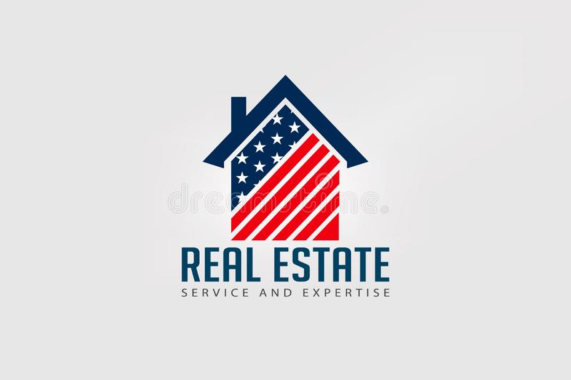 Real Estate American house red and blue logo vector illustration