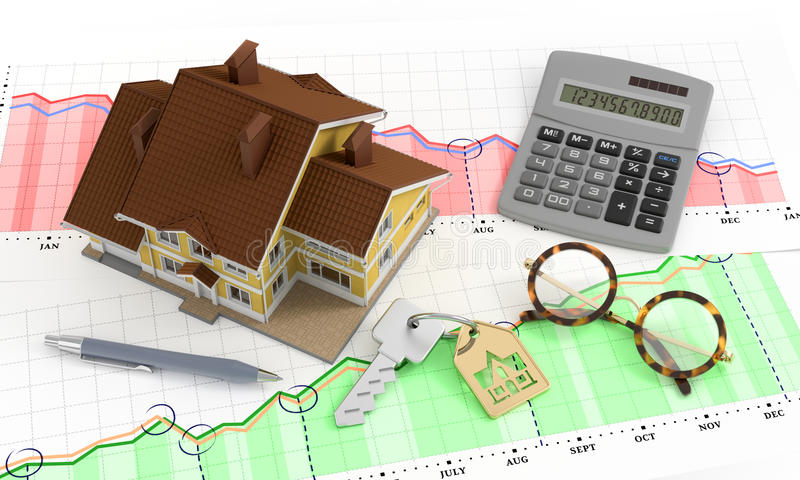 Real Estate Analytics. Composition on the subject of Real Estate Market. 3D rendered image stock photography