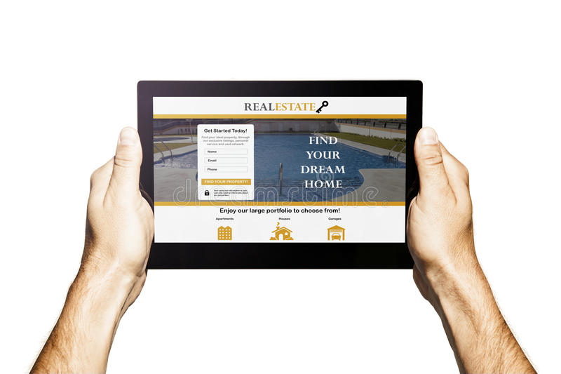 Real estate app in a tablet. Hands holding tablet. White background. Internet home searching. Real estate template design on the screen royalty free stock photos