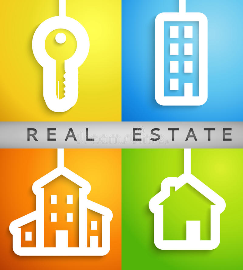 Real estate applique background. Vector. Illustration for your housing presentation. Set of white homes and key cutouts on different color backgrounds. Banner vector illustration