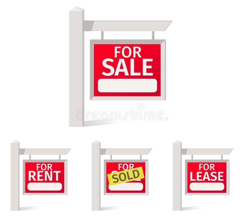 Real Estate assina, placa vermelha com um campo para notas no polo ilustração stock