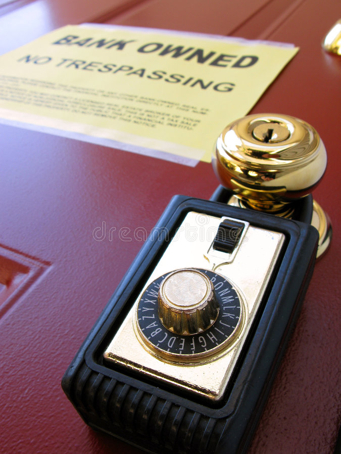 Real Estate Bank Foreclosure Notice and Lock Box stock images