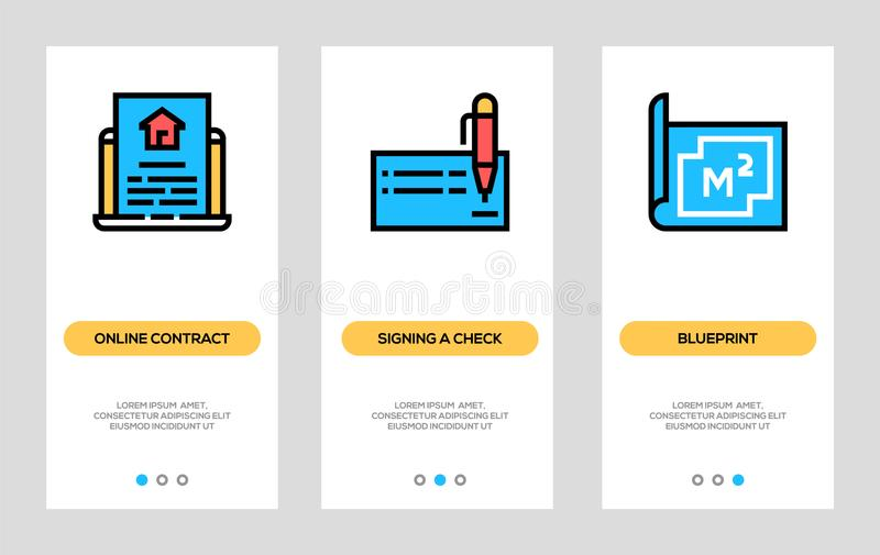 Real Estate Banners. Online Contract, Signing A Check, Blueprint Vertical Cards. Vector Concept For Web Graphics. vector illustration