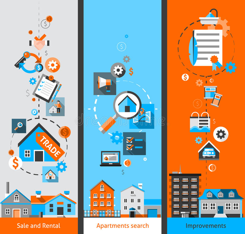 Real Estate Banners stock illustration