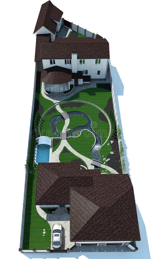 Real Estate Bird's Eye View Isolated over White Background, 3D Rendering. Three-dimensional visualization of real estate landscaping. Fully illustrated master royalty free stock image