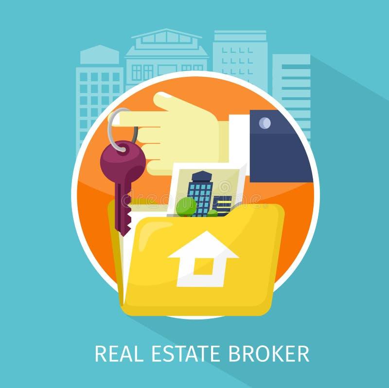 Real Estate Broker Design Flat Stock Vector