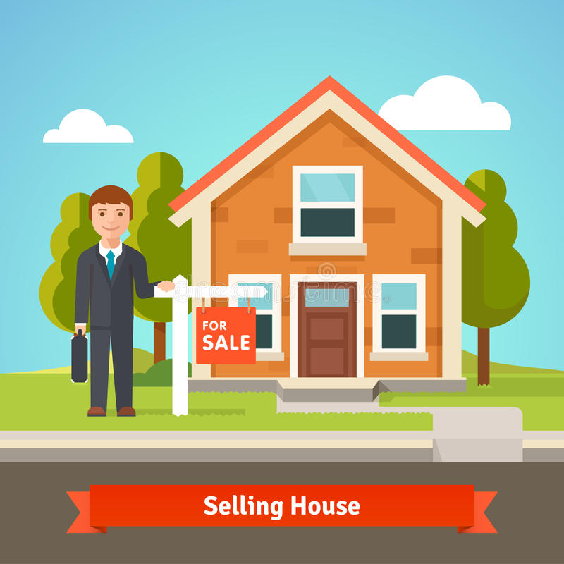 Real estate broker and house with for sale sign stock for Modern homes estate agents