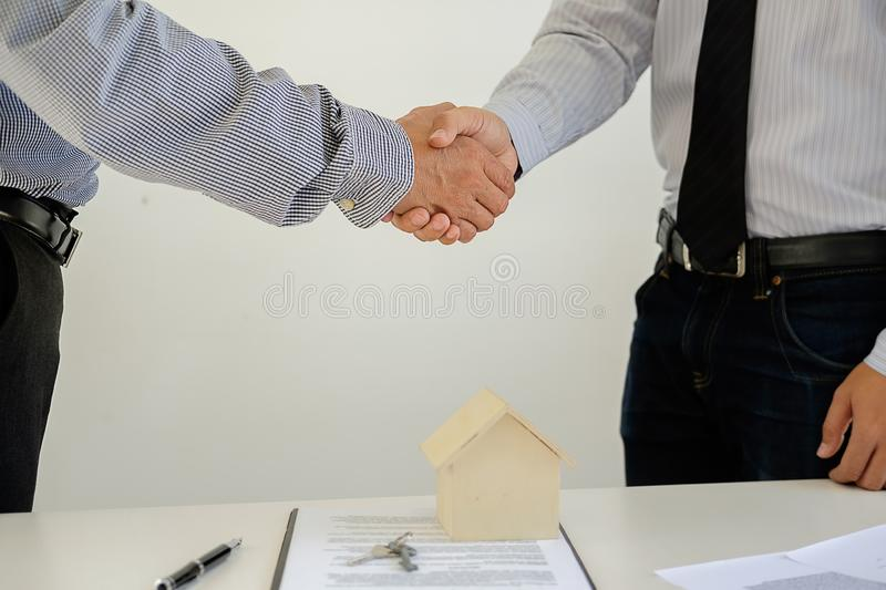 Real estate broker residential listing contract stock photos
