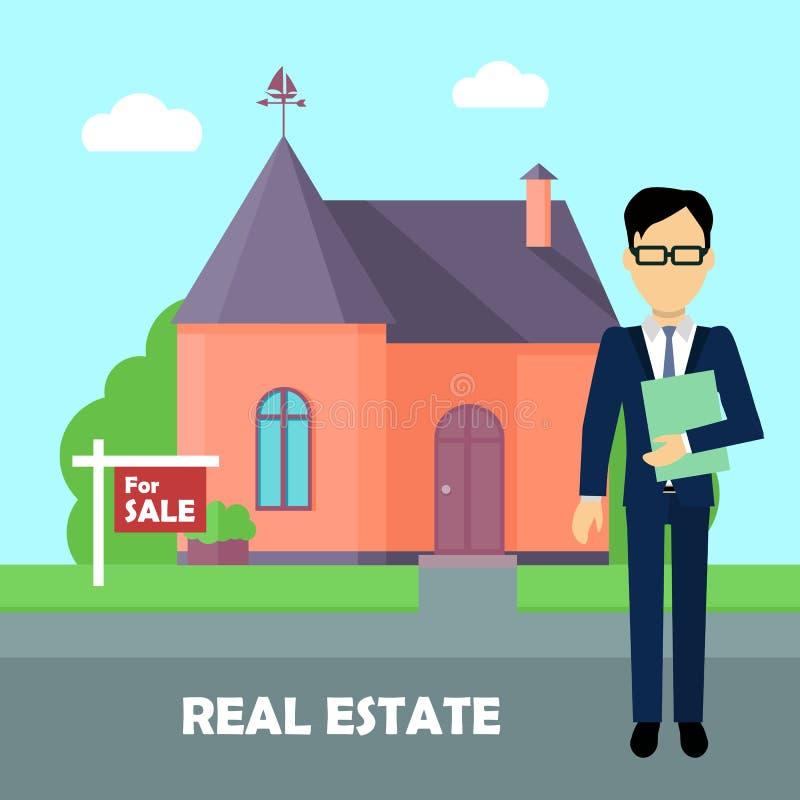 Home Rental Agency: Real Estate Broker At Work. Building For Sale Stock Vector