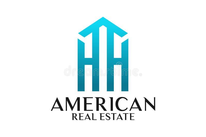 Real Estate, budynku, domu, budowy i architektury loga Wektorowy projekt, royalty ilustracja