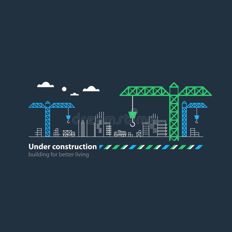 Real estate building company, under construction site banner, cranes. Building houses concept, realty investment, real estate growth, construction site cranes stock illustration