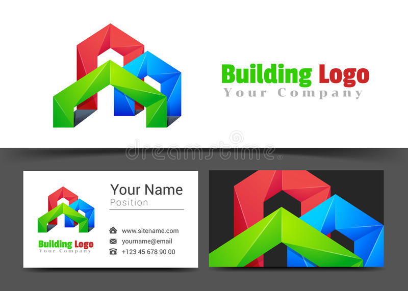 Real Estate Building Corporate Logo and Business Card Sign stock illustration