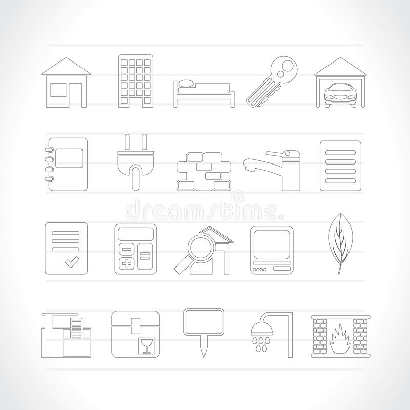 Real Estate and building icons. Vector Icon Set stock illustration