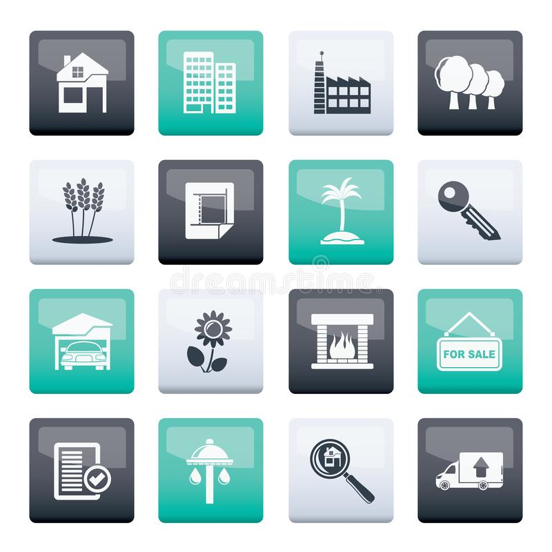 Real Estate and building icons over color background stock illustration