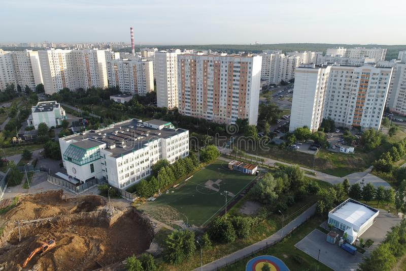 Real Estate buildings on Gorchakova street and Butovo park from the birds sight, Moscow, Russia stock photography