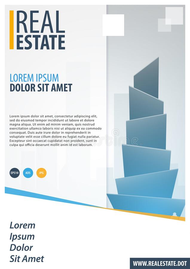 Real Estate. Business Brochure. Flyer Design. Leaflets a4 Template. Cover Book and Magazine. Vector illustration. stock illustration