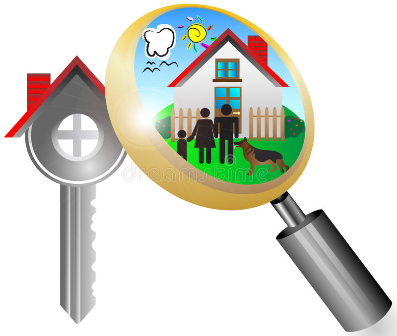 Real Estate Business Concept With Magnifying Glass Stock Photography