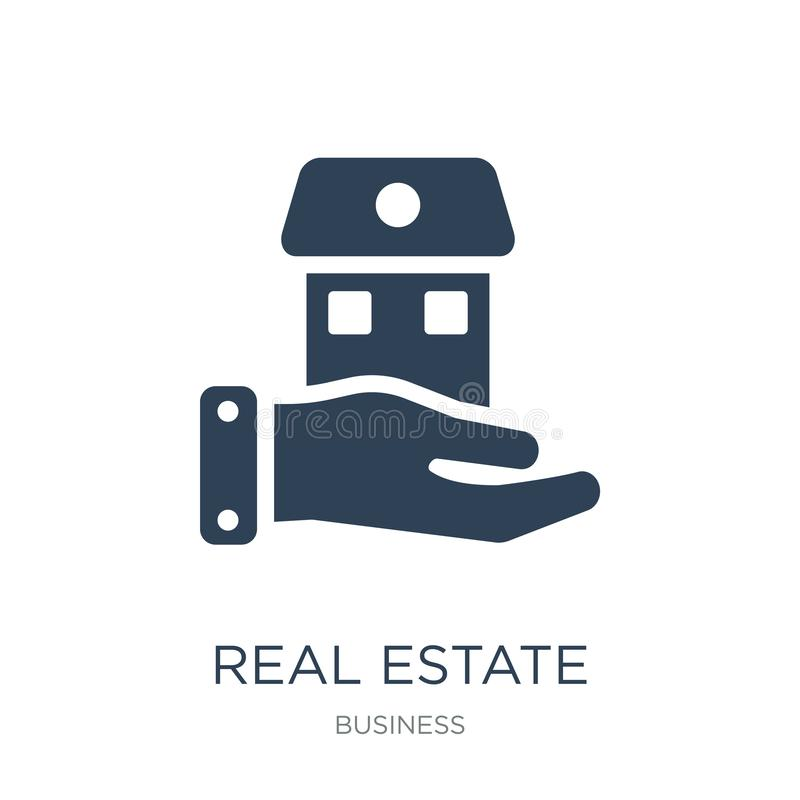 Real estate business house on a hand icon in trendy design style. real estate business house on a hand icon isolated on white. Background. real estate business vector illustration